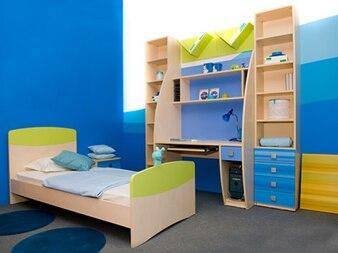 los niños azules habitación de material de imagen