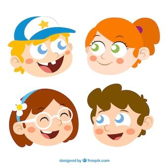 Los niños y las niñas cabezas de dibujos animados