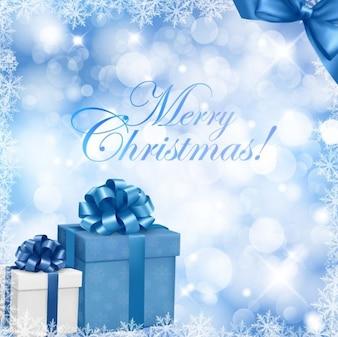 Los regalos de Navidad sobre fondo azul
