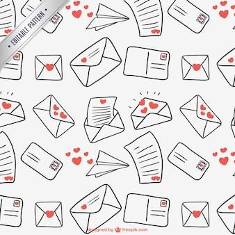 Patrón continuo de cartas de amor