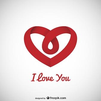Mensaje del amor con corazón de lazo