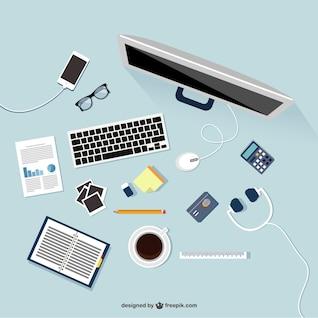 Lugar de trabajo en diseño plano