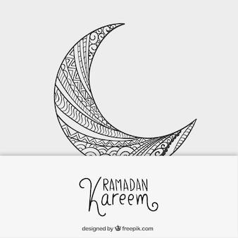 Luna creciente esbozada para el Ramadán