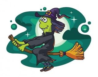 Malvada bruja volando en el diseño de dibujos animados