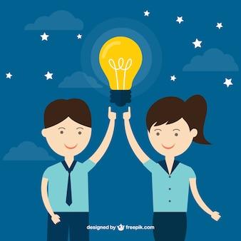 Hombre y mujer con una idea