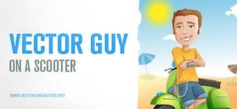 Hombre con scooter en la playa