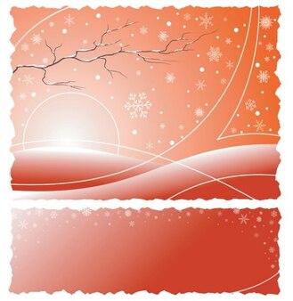 Mañana de invierno con copos de nieve de fondo abstracto