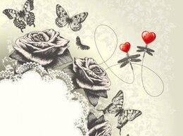 Mano clásica pintura del arte de la mariposa fondo rosas