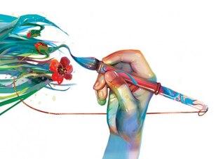 Mano con un pincel pinta una hierba y flor