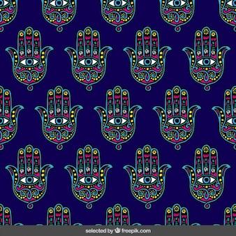 Mano de fatima patrón de colores