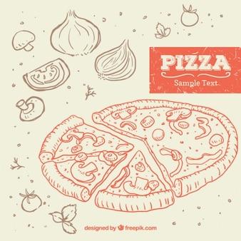 Mano de pizza dibujado