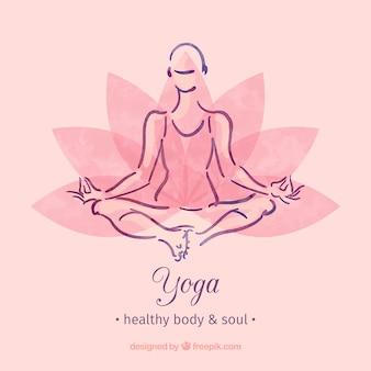 Mano logotipo yoga pintada