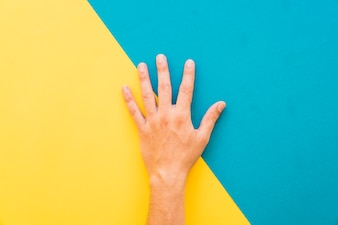 Mano sobre fondo amarillo y azul