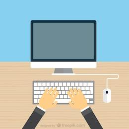 Manos escribiendo en el teclado