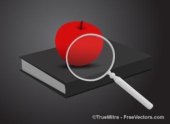 Manzana roja con la lupa en el libro