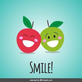 Manzanas felices de dibujos animados