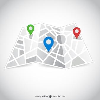 Mapa de calle con los punteros