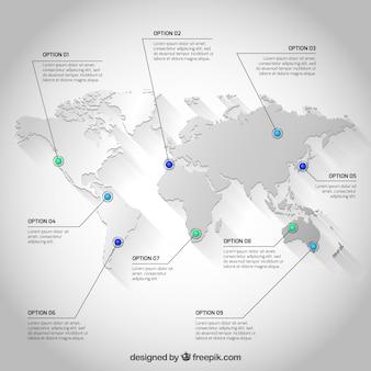 Mapa del mundo blanco infografía