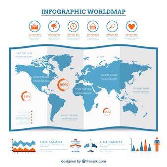 Mapa del mundo colorido infografía