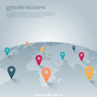 Mapa del mundo con punteros infografía