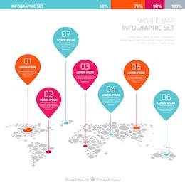 Mapa del mundo infografía con punteros
