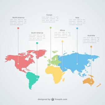 Mapa del mundo plantilla de infografía