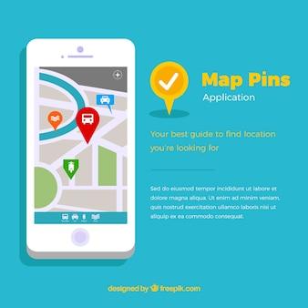 Mapa Smartphone con alfileres