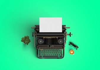 Máquina de escribir sobre fondo verde