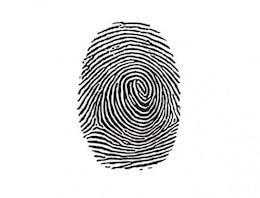 Marca de tinta de huellas de identidad