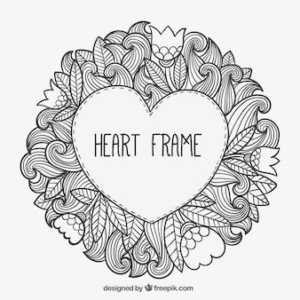 Marco de corazón en estilo de dibujo