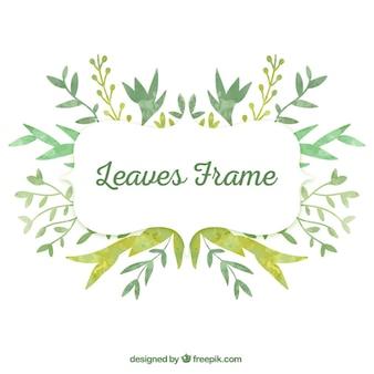 Marco de hojas de acuarela