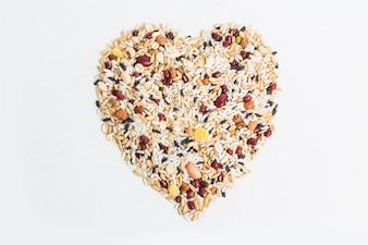 Marco de la frontera de maíz harina de semilla de núcleo y granos en bolsas aislamos