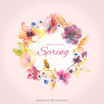 Marco de primavera de acuarela