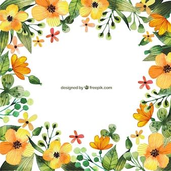 Marco floral amarillo de acuarela