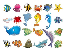 Marine animales dibujos animados set - vector EPS