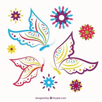 Mariposas coloridas esbozadas