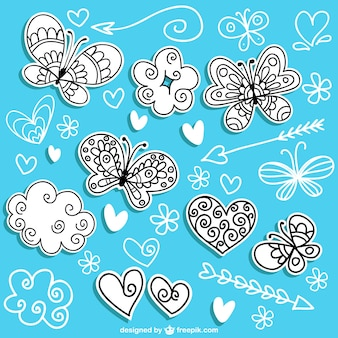 Mariposas dibujadas a mano