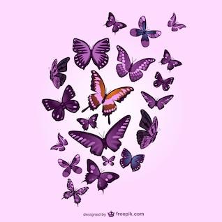 Mariposas sobre fondo rosa