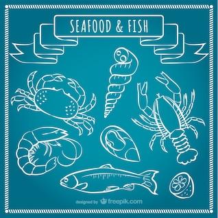 Mariscos y pescados del vector