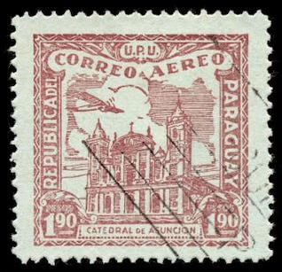 marrón asuncion catedral sello de correo aéreo
