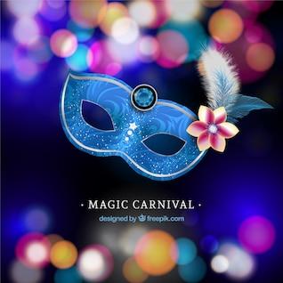 Máscara de carnaval brillante con el fondo borroso