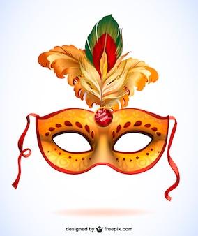 Máscara de carnaval con plumas. Vector formato .ai