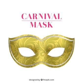 Máscara de carnaval dorada con decoración arremolinada