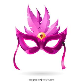 Máscara del carnaval en tonos rosados