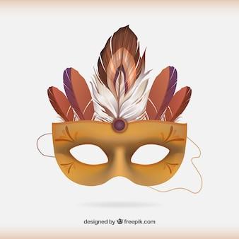 Máscara del carnaval turquesa con plumas