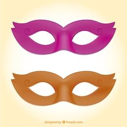 Máscaras de carnaval rosa y naranja