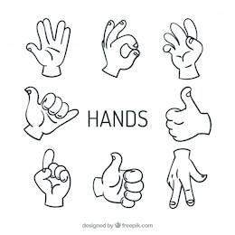 Máximo de cinco manos vectores de señal