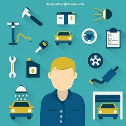 Mecánico y herramientas