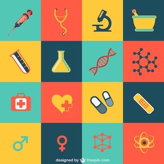 Iconos de colores de medicina