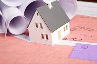 Mediciones esquema de color rosa Detalle de vivienda